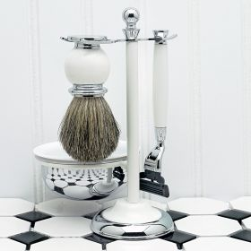 Timeless White Shaving Kit, with Lathering Bowl