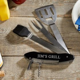 5-Tools-in-One Personalized Folding BBQ Tools + Bottle Opener