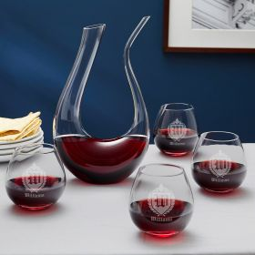 Oxford Monogram Personalized Horn Wine Decanter and Glasses