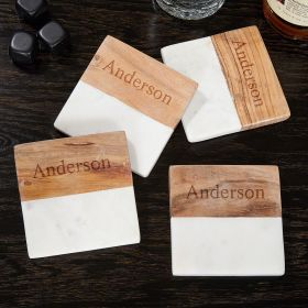 Ingram White Marble & Acacia Wood Coasters (Engravable)