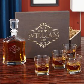 Wilshire Engraved Glass Whiskey Decanter Set