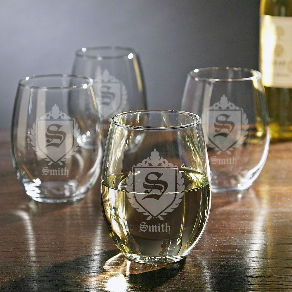 Oxford Personalized Stemless Wine Glasses, Set of 4
