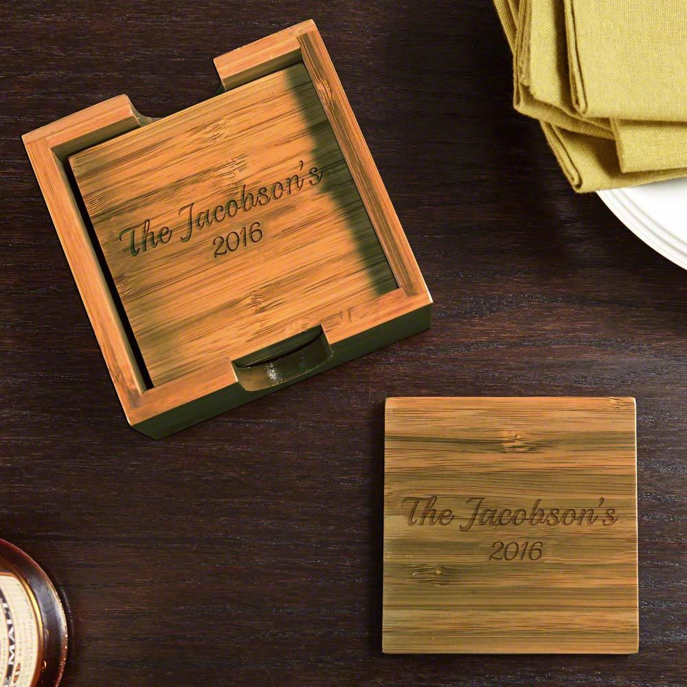 Bamboo Personalized Coasters, Set of 4