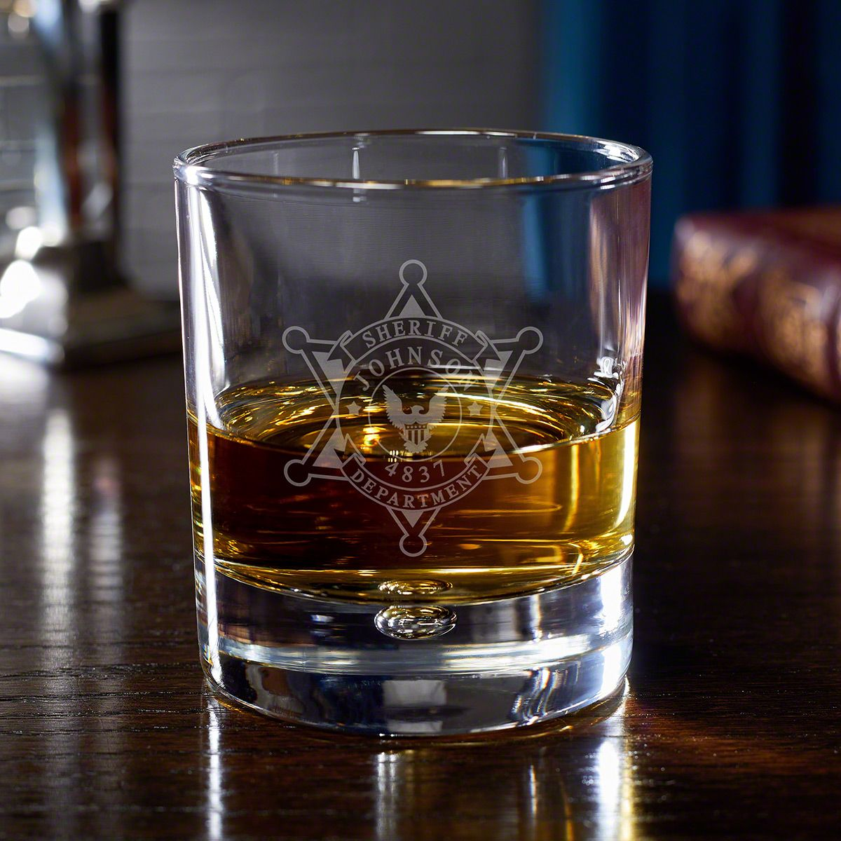 Sheriff Badge Personalized Rocks Glass for Law Enforcement