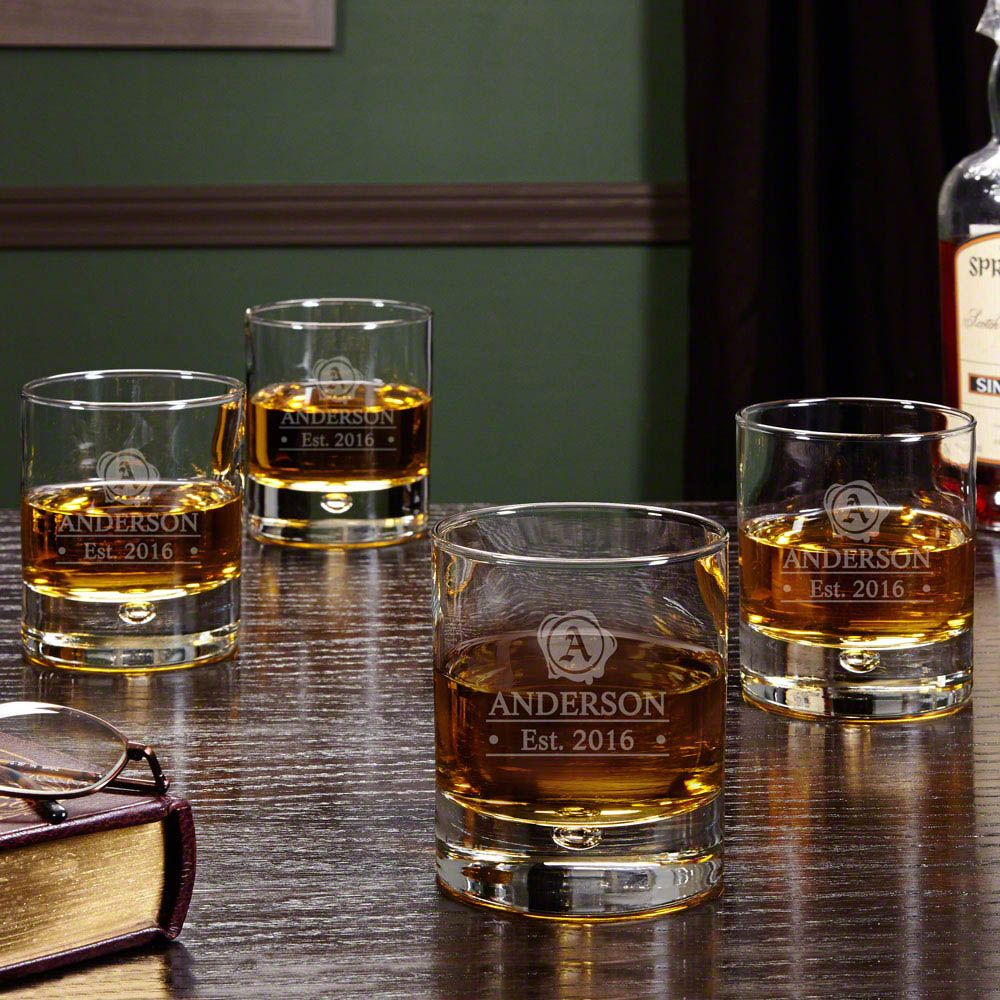 Wax Seal Engraved Whiskey Glasses, Set of 4