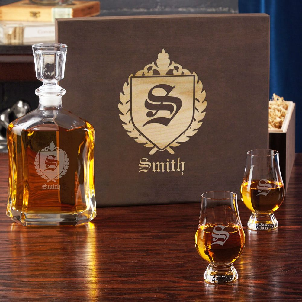 Oxford Glencairn Whiskey Set with Engraved Wood Gift Box