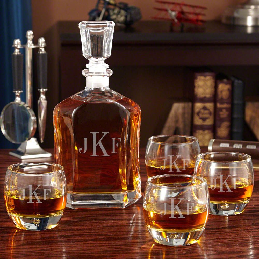 Monogrammed Uptown Personalized Decanter Set