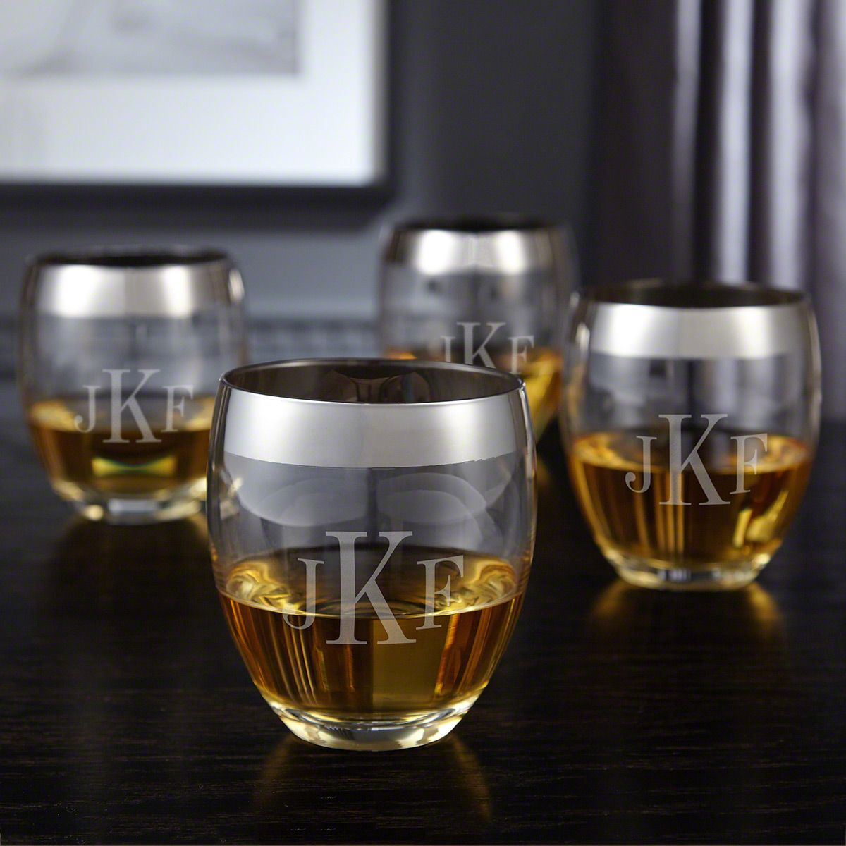 Simply Class Engraved Classic Monogram Whiskey Glass Set