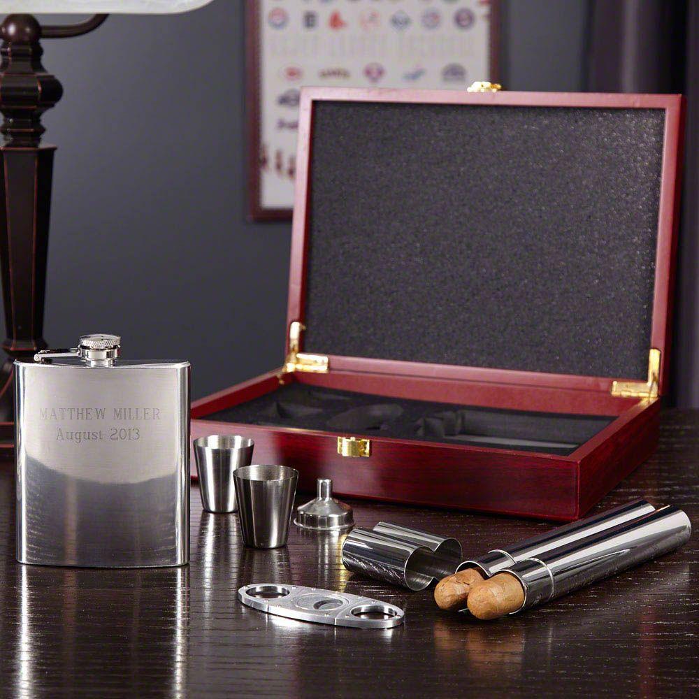 Byrne Flask and Cigar Gift Set , 6-piece (Engravable)