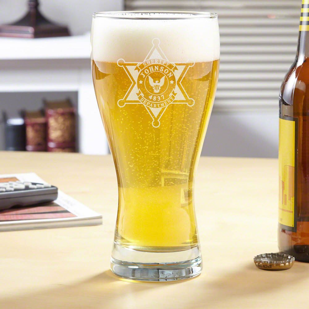 Sheriff Badge Personalized Pilsner Glass
