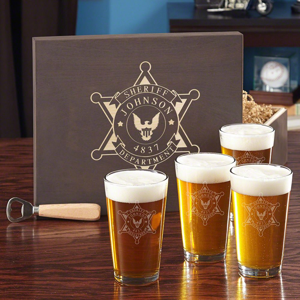 Sheriff Badge Beer Glass Set with Custom Gift Box