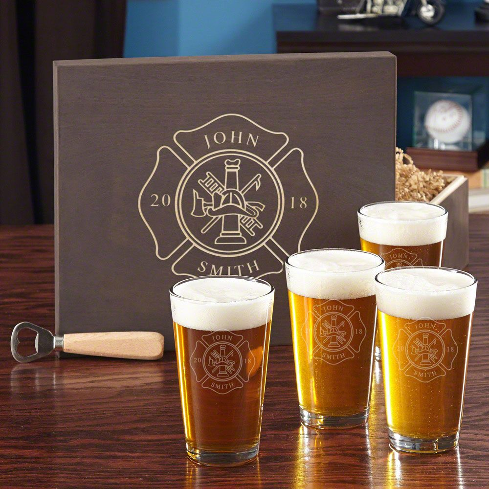 Firefighter Custom Beer Set with Engraved Wood Gift Box