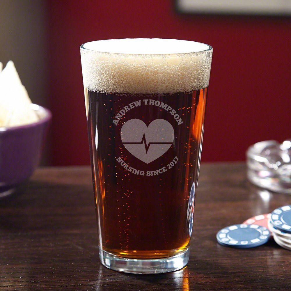 Nurses Lifeline Engraved Beer Pint Glass