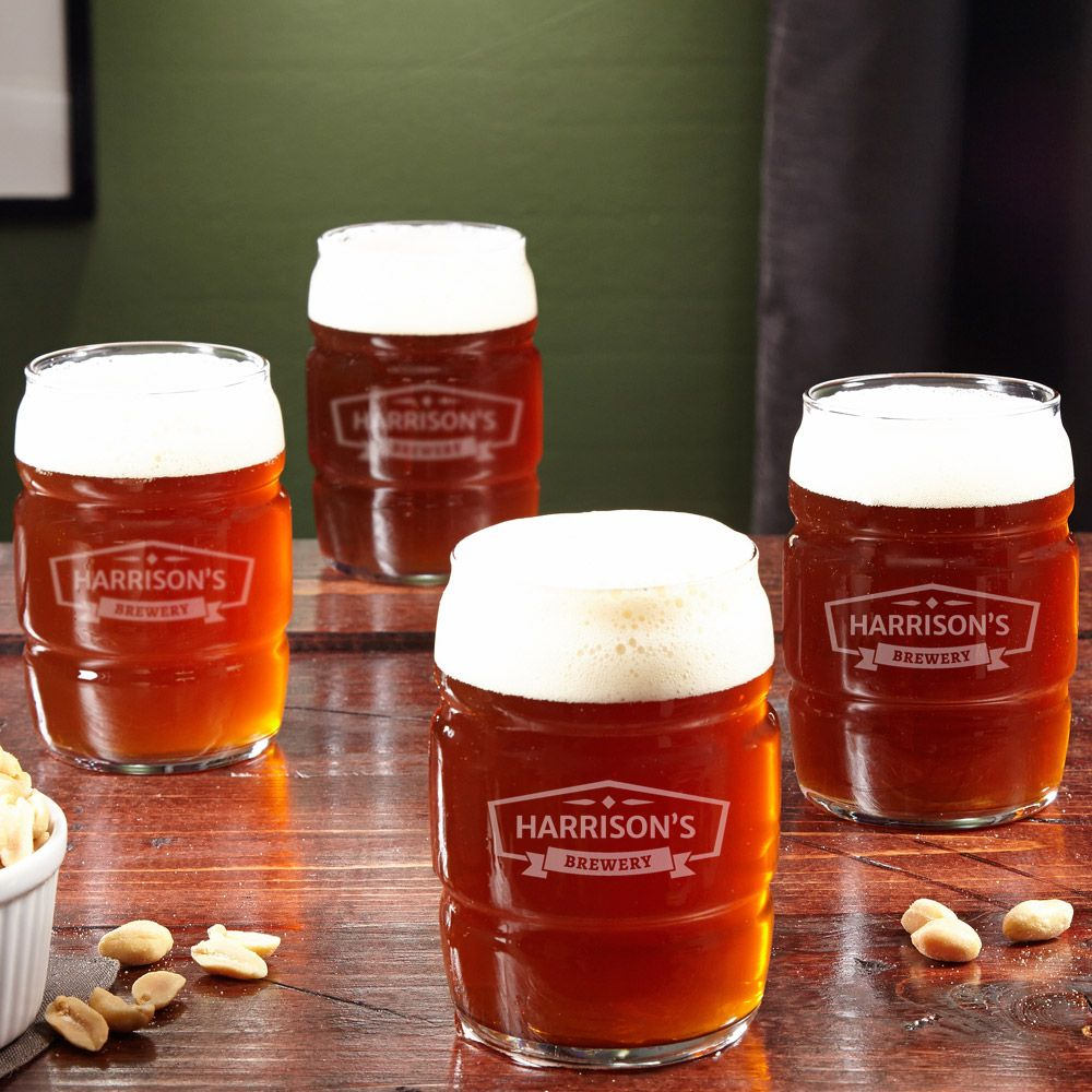 Personalized Rolling Barrel Beer Glasses, Set of 4