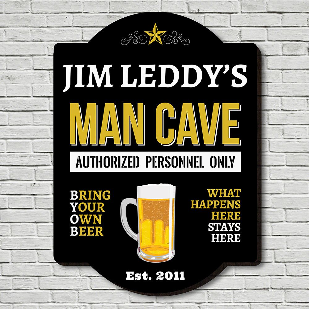 Authorized Personnel Only Personalized Man Cave Sign