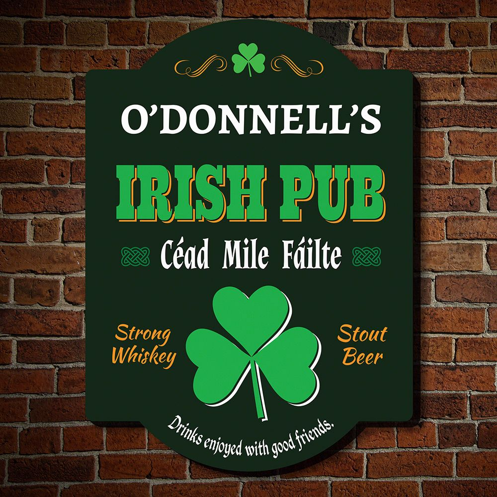 Hundred Thousand Welcomes Personalized Irish Pub Sign
