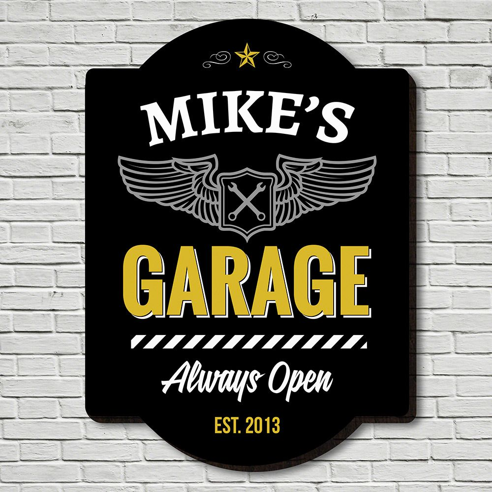 Always Open Personalized Garage Sign