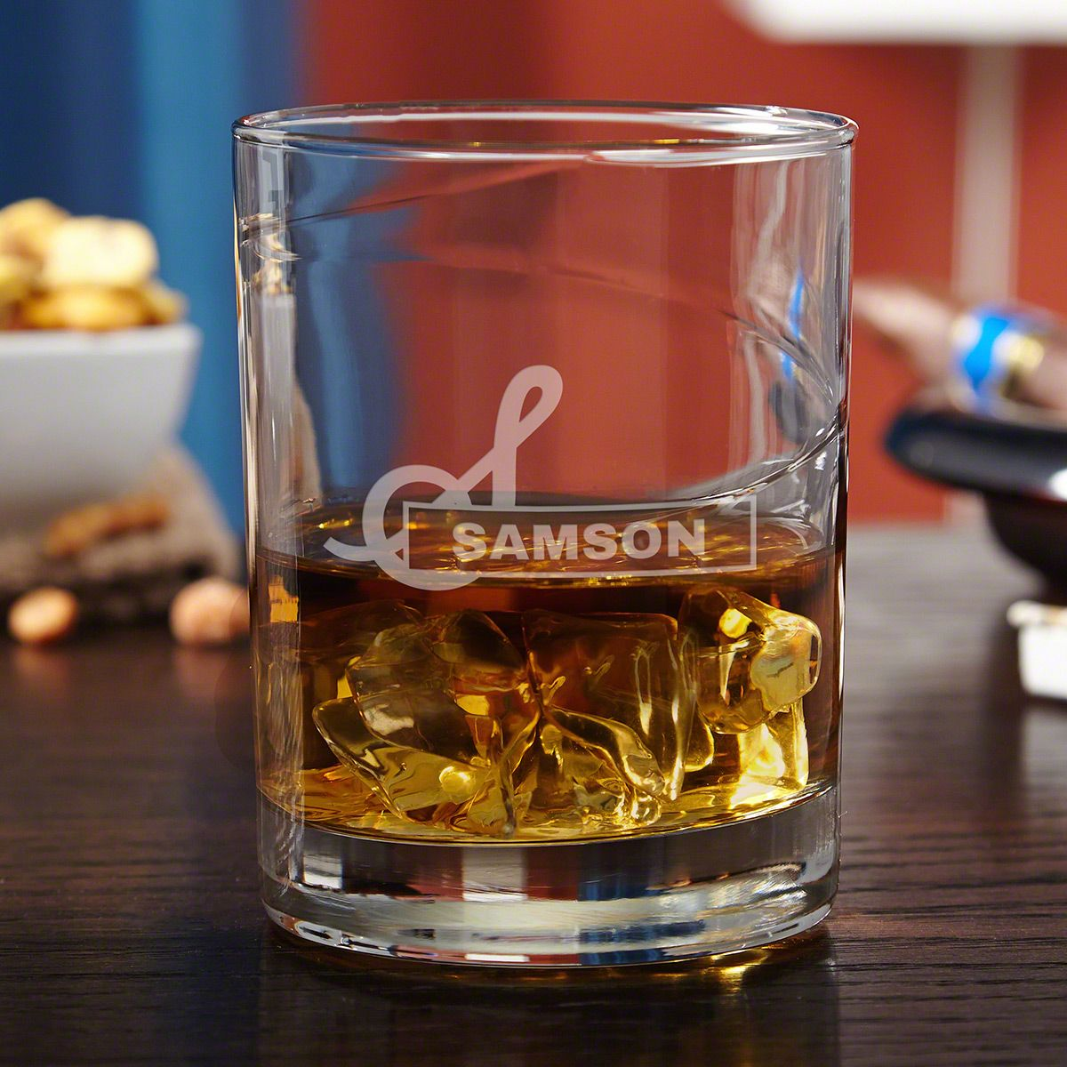 Beckett Hand-Blown Personalized Whiskey Glass
