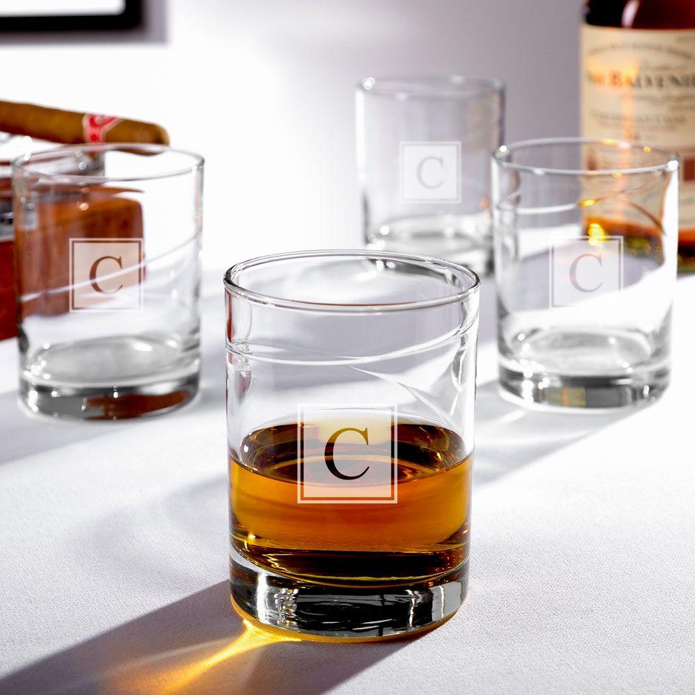 Vintage Islay Block Monogram Whiskey Glasses, Set of 4