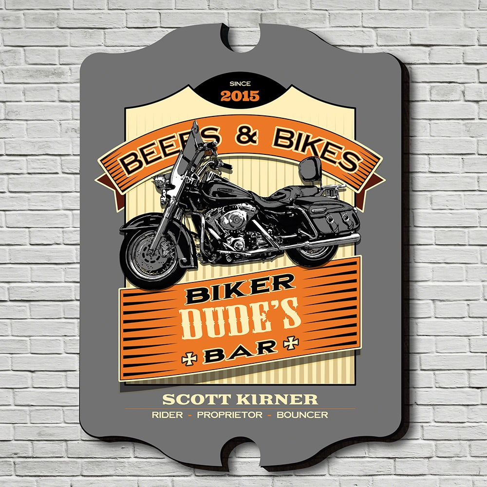 Beers and Bikes Personalized Bar Sign