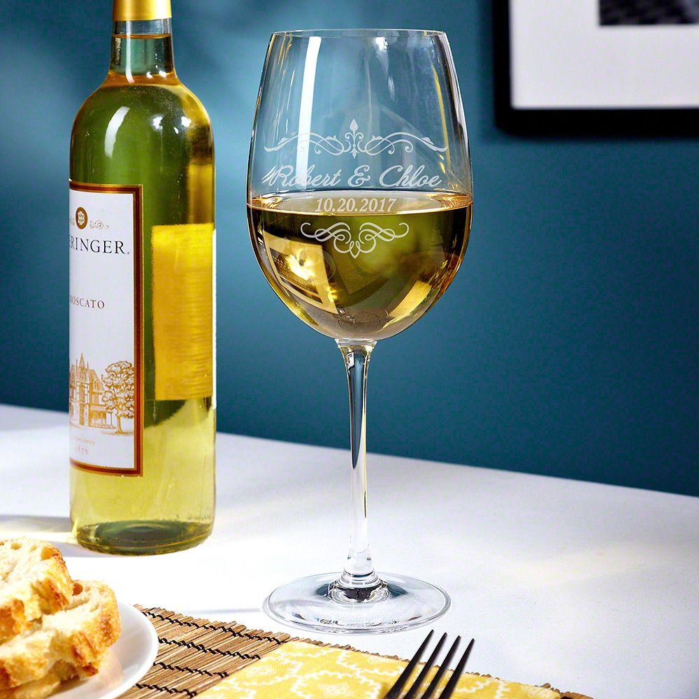 Edgewater Engraved Wine Glass