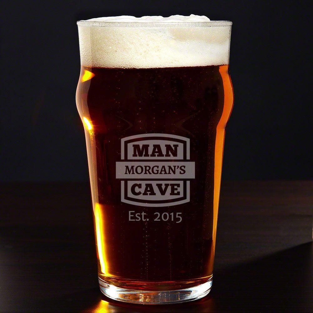 Man Cave Personalized English Pub Glass