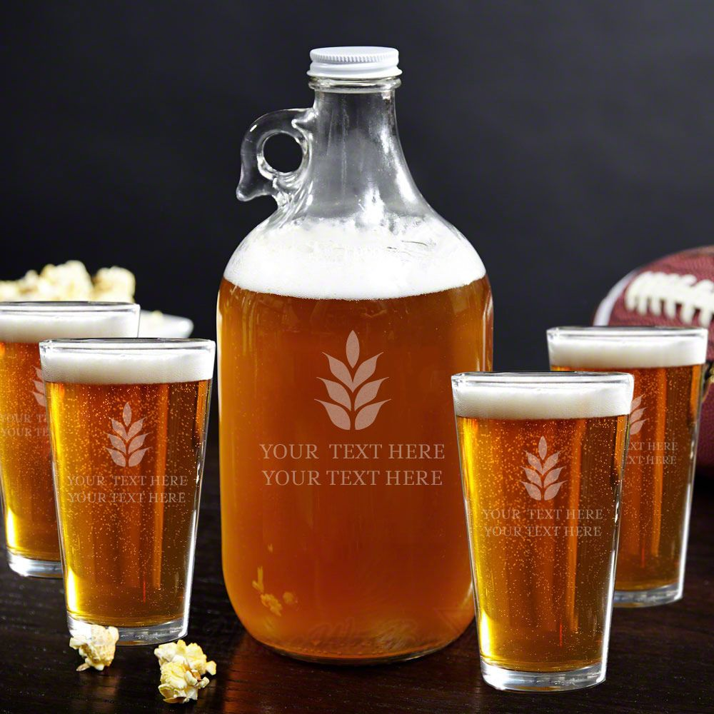 Naturally Brewed Growler & Beer Glass Gift Set