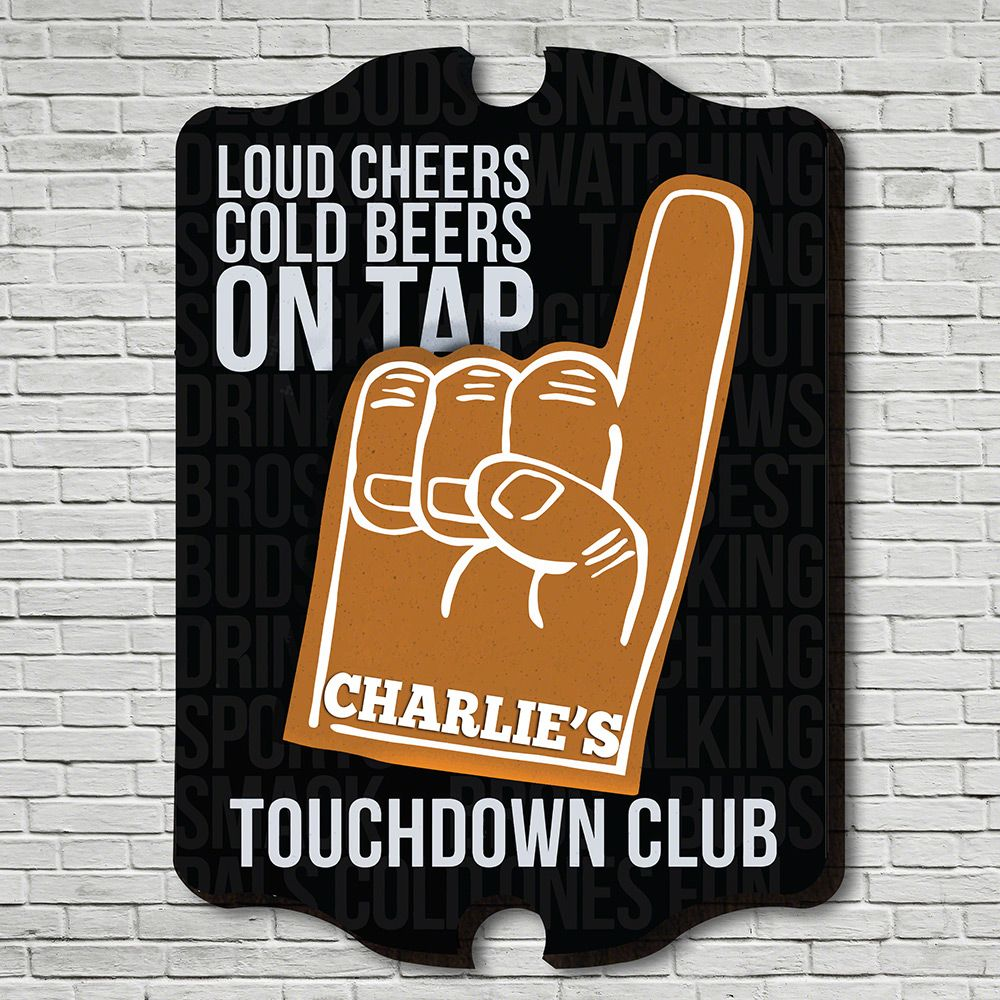 Touchdowns On Tap Personalized Sign