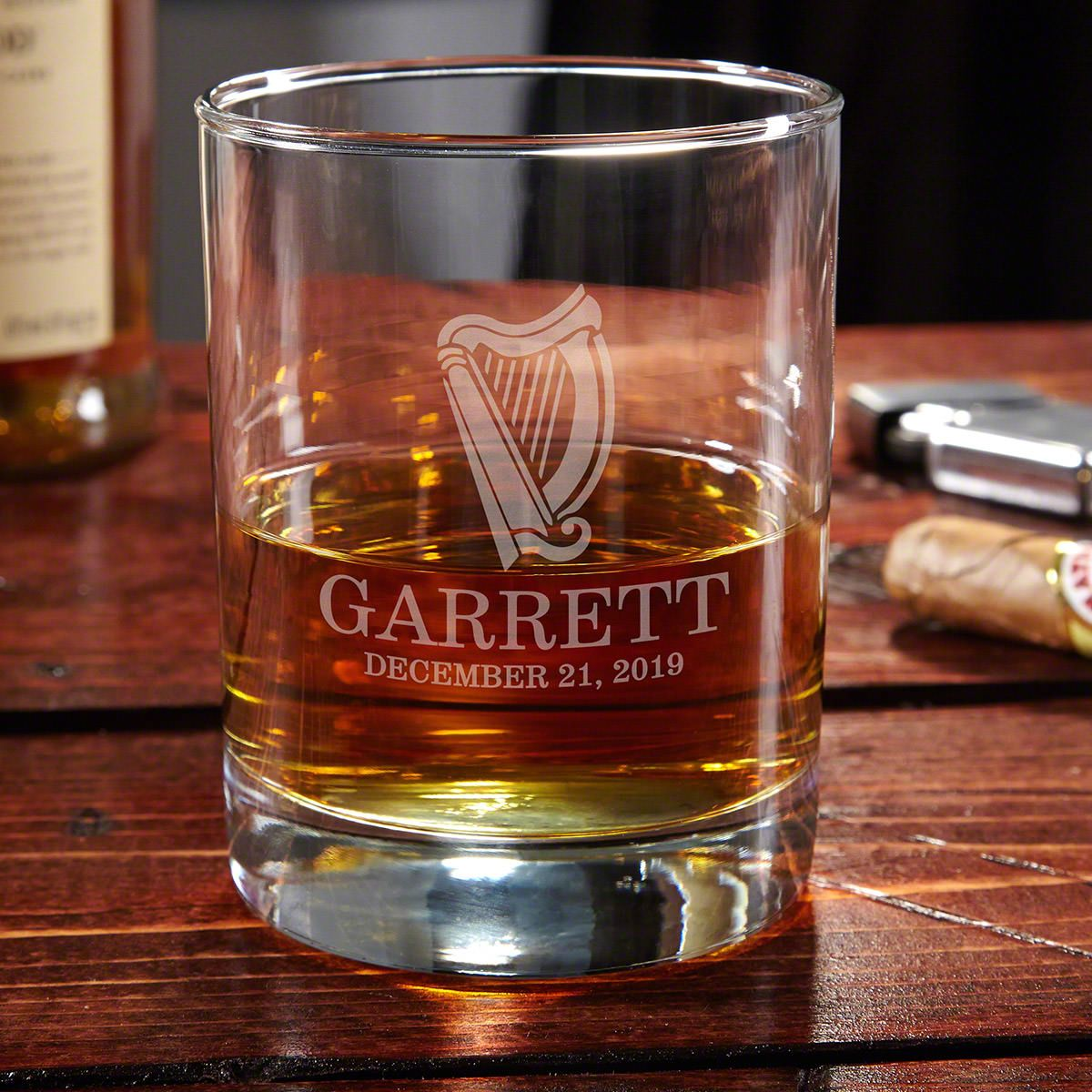 Celtic Harp Personalized Whiskey Glass
