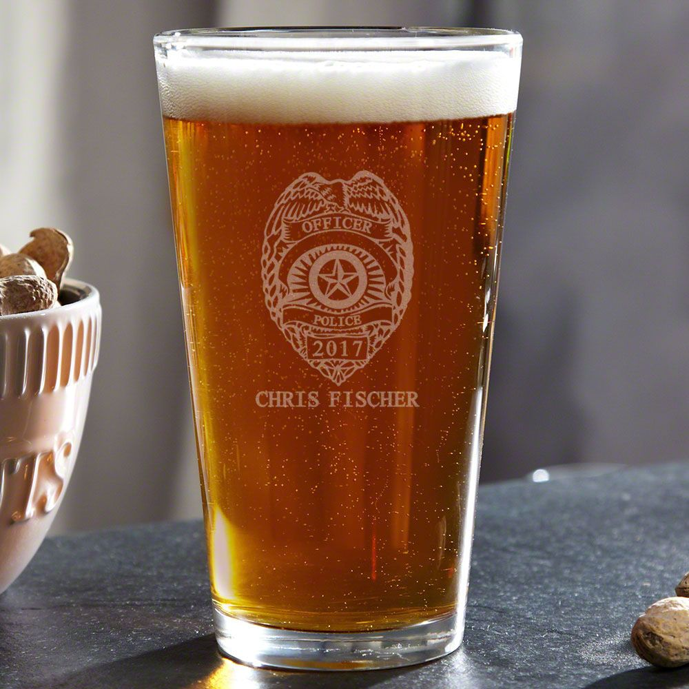 Police Badge Personalized Pint Glass