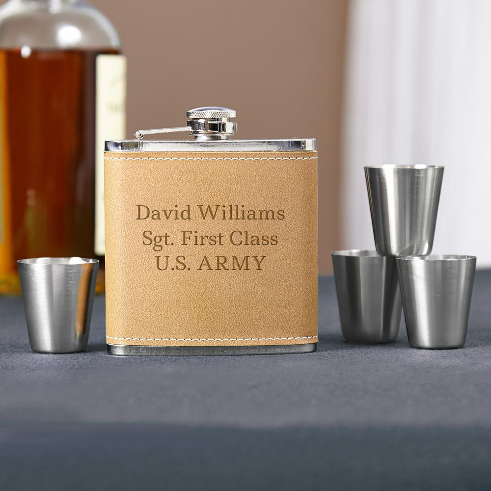 Cocoa Leather Engraved Hip Flask Gift Set