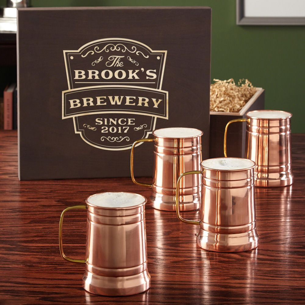 Vintage Brewery Gift Box and Koln Copper Beer Tankard Set