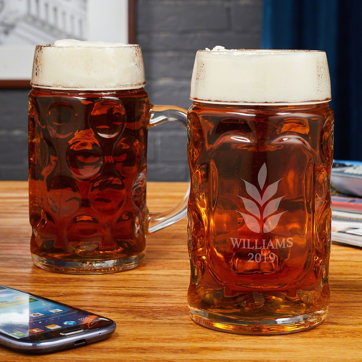 Naturally Brewed Custom Beer Steins, Set of 2