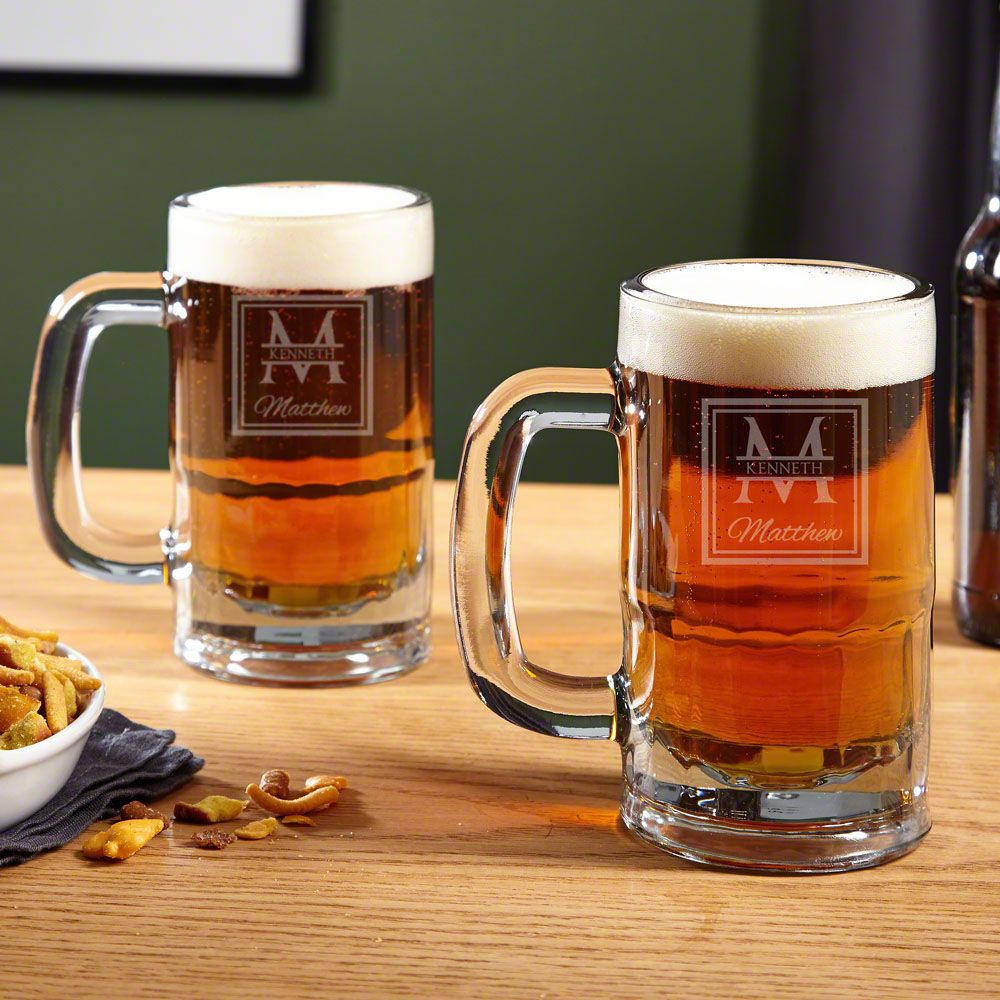Oakhill Personalized Beer Mugs, Set of 2