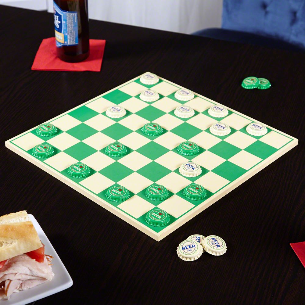 King Me Beer Caps & Checkers Board Set