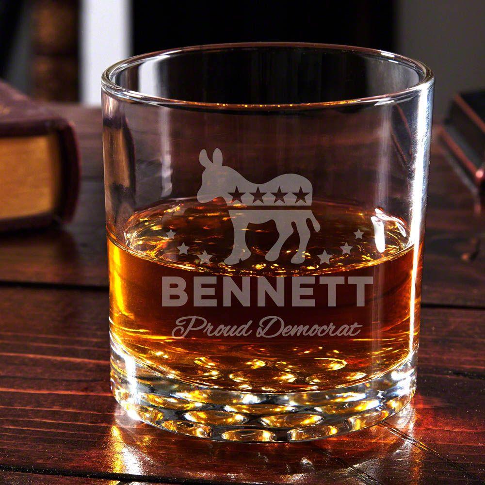 Proud Democrat Personalized Whiskey Glass