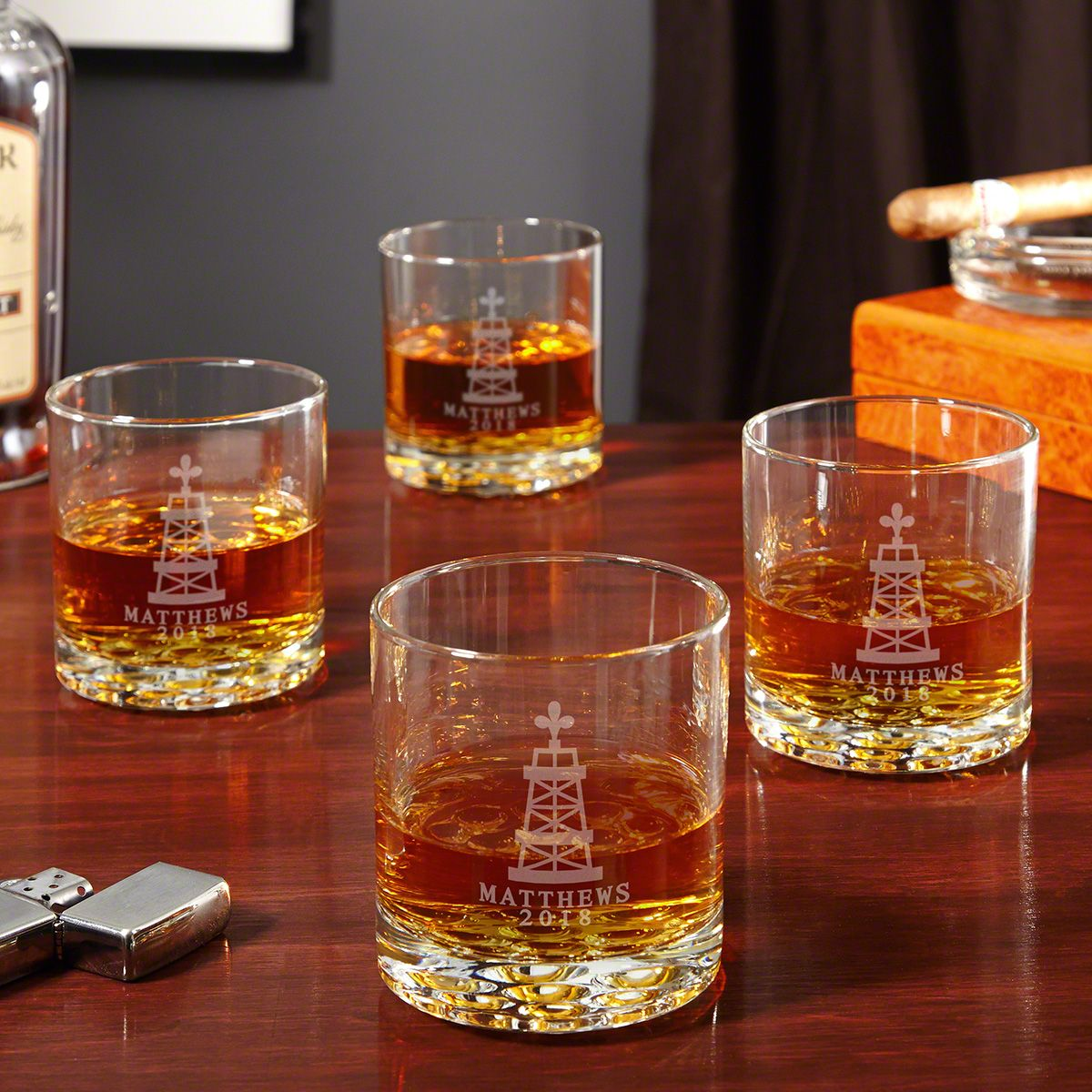 Oil Strike Etched Whiskey Glasses Set of 4