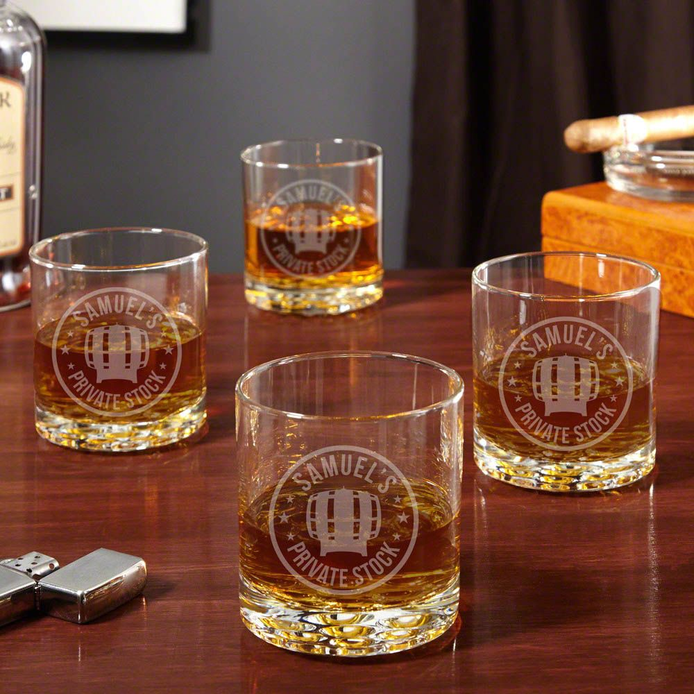 Private Stock Engraved Rocks Glasses, Set of 4