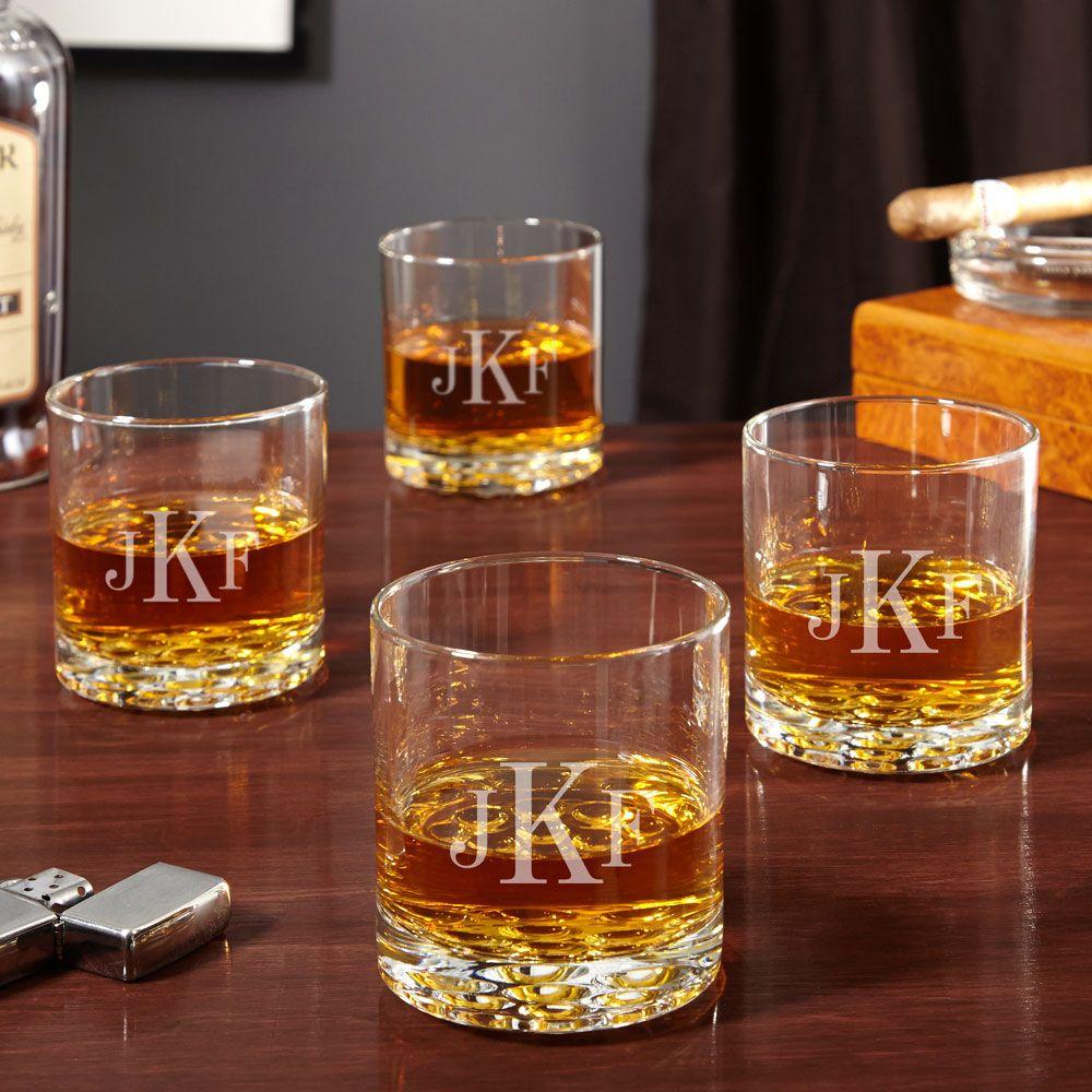 Buckman Classic Monogram Whiskey Glasses, Set of 4