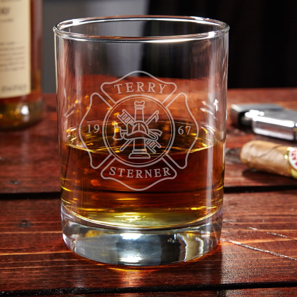 Eastham Firefighter Personalized Whiskey Glass