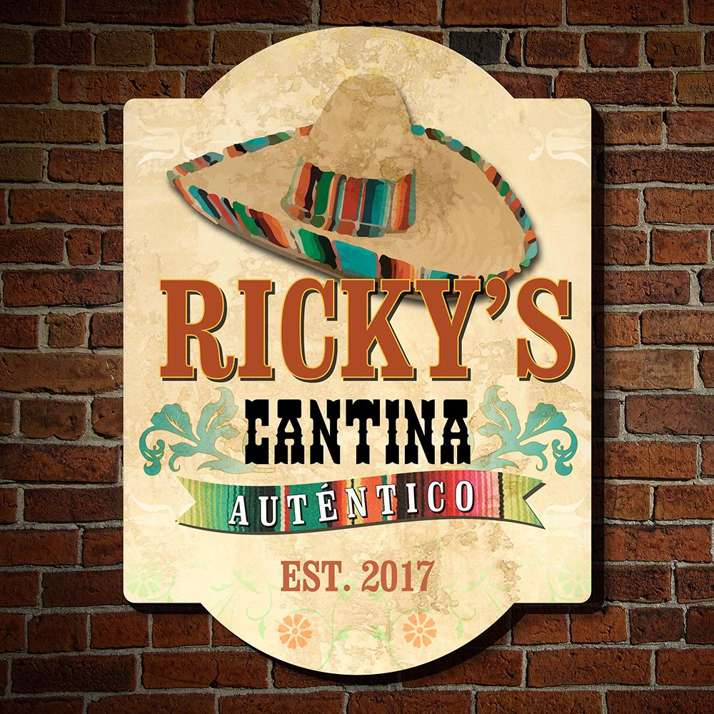 Authentic Sombrero Cantina Custom Bar Sign