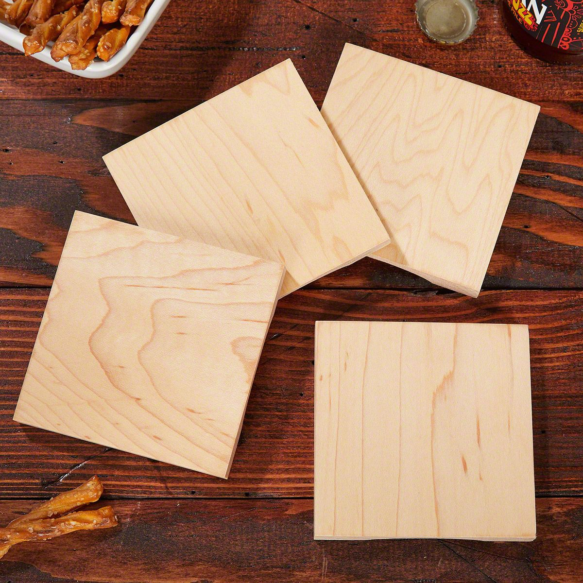 Beer Opener Wood Coasters