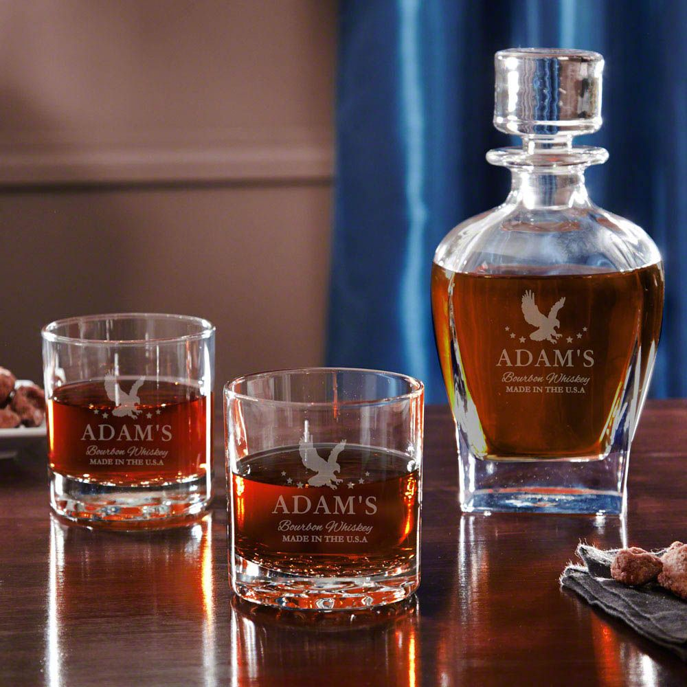 Patriot Whiskey Decanter Set with Pair of Tumblers