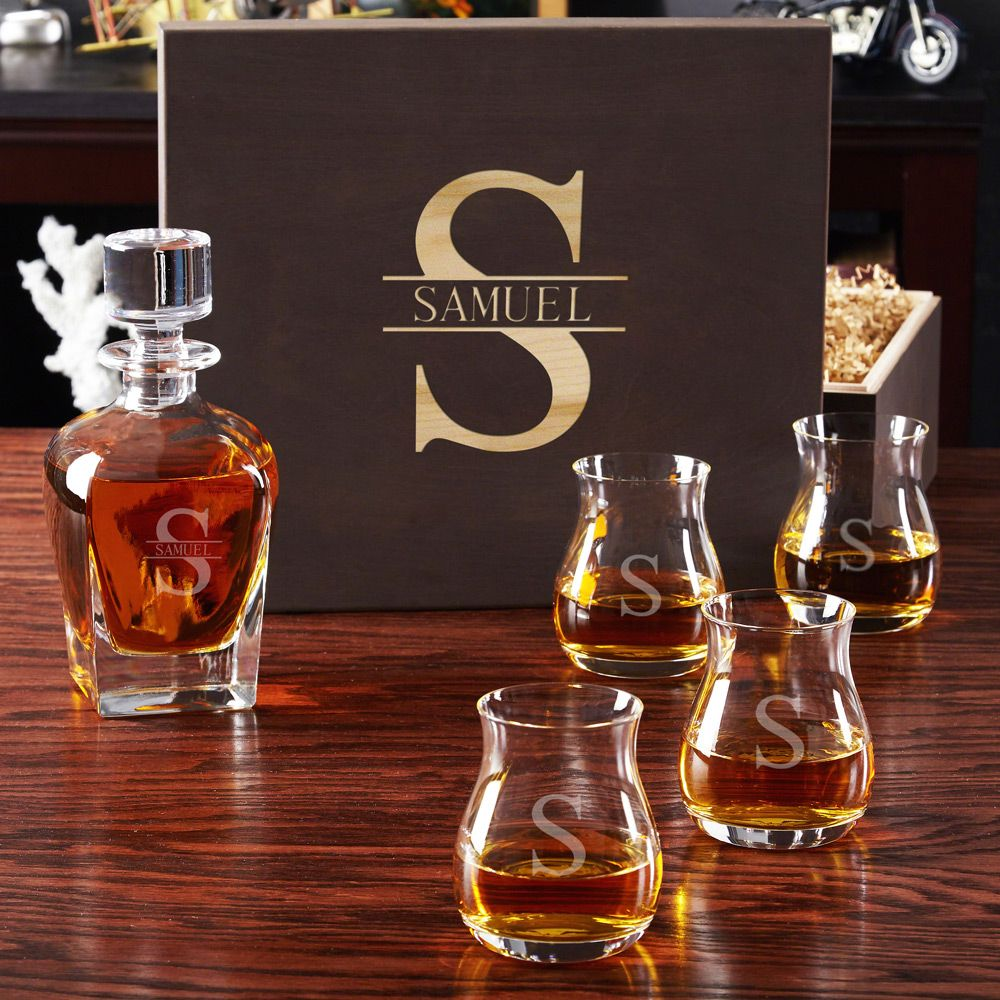 Oakmont Glencairn Glass Set with Draper Decanter and Gift Box