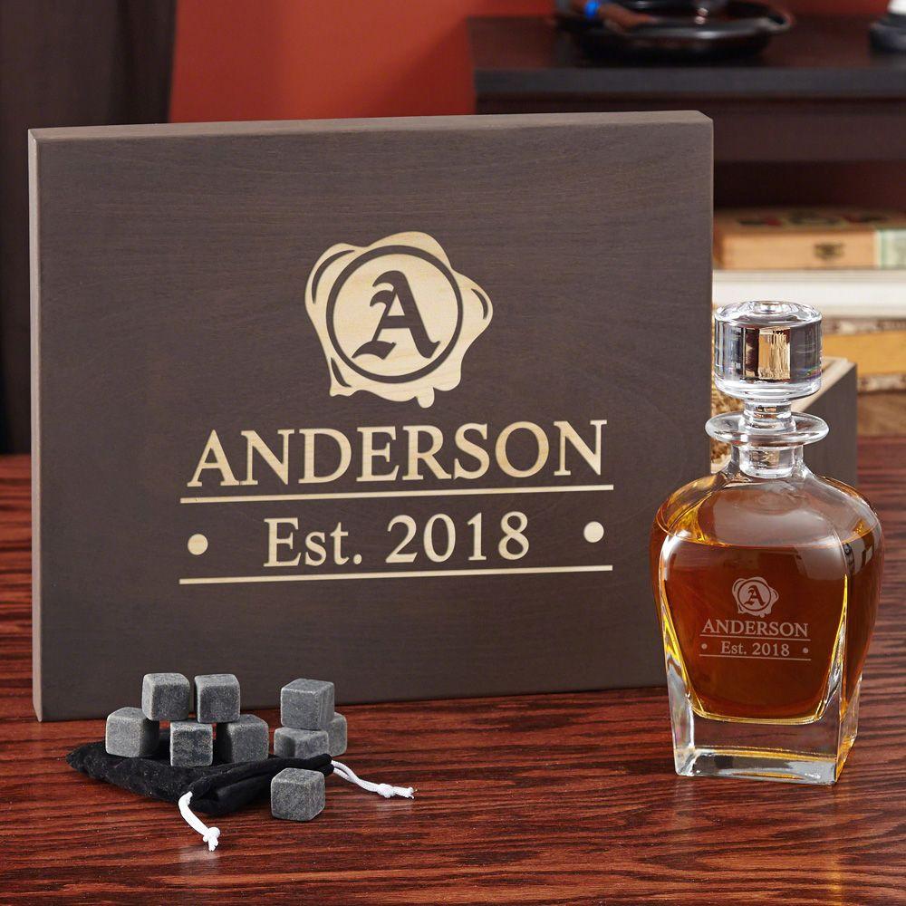 Wax Seal Engraved Whiskey Gift Box Set