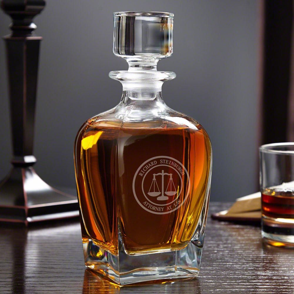 Scales of Justice Personalized Draper Whiskey Decanter for Lawyers