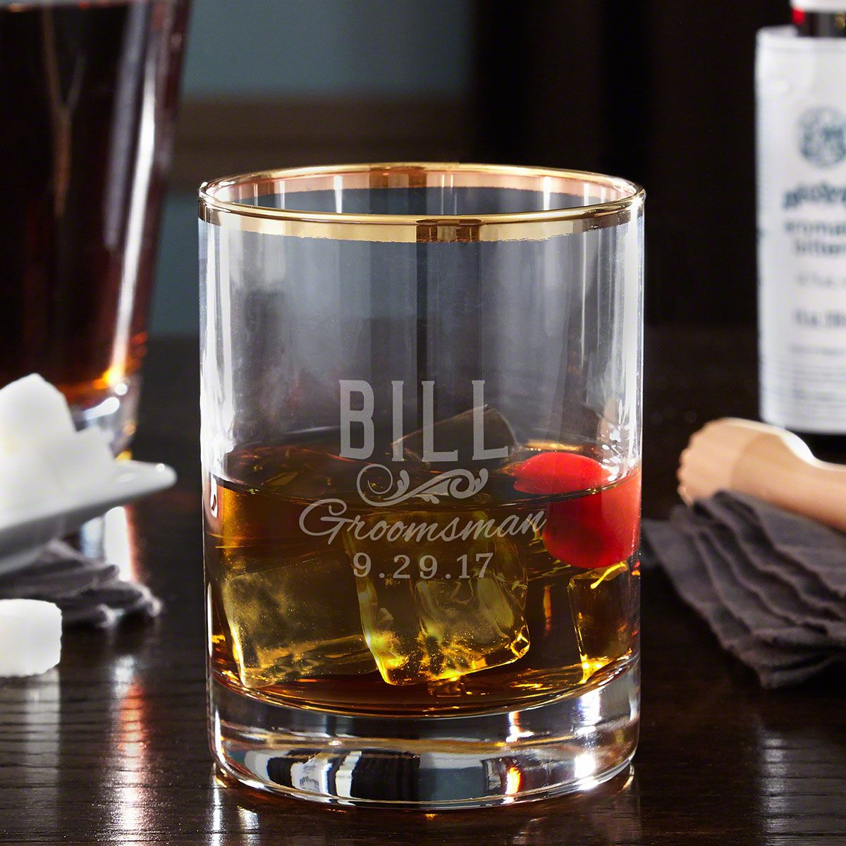 Classic Groomsman Personalized Gold Rim Whiskey Glass