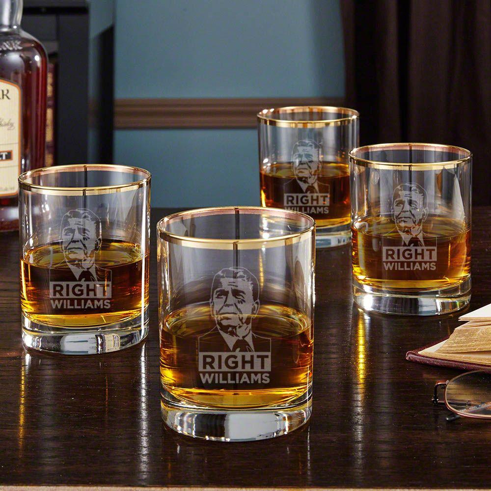Reagan Right Gold Rim Old Fashioned Glasses, Set of 4