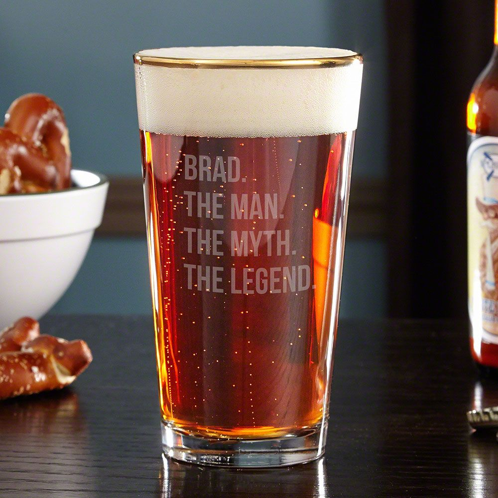 The Man The Myth The Legend Gold Rim Custom Beer Glass