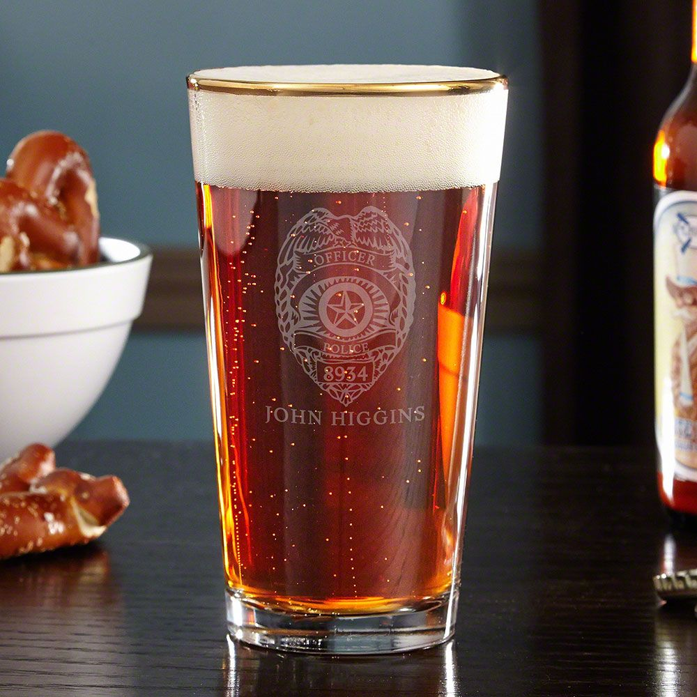 Police Badge Gold Rim Personalized Beer Glass
